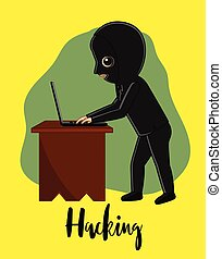 Hacker Trying to Hack a Laptop Vector Illustration