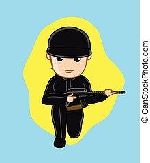 Commando Girl Holding a Gun Vector Illustration
