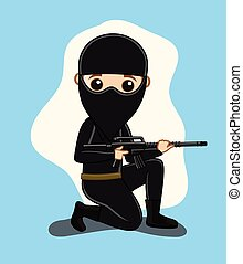 Commando with Mask Holding a Gun Vector Illustration