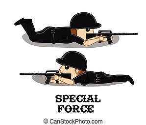 Special Force Commando Characters Vector Illustration