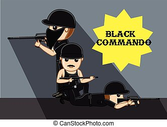 Black Commando Gang Vector Illustration