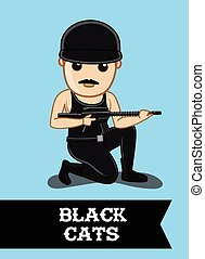 Black Commando Character with Guns Vector Illustration