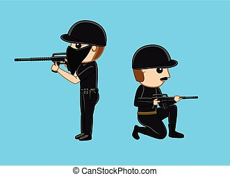 Commando with Guns Vector Illustration
