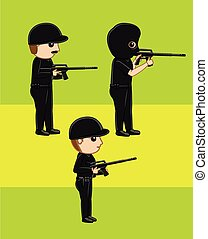 Commando and Masked Agent with Guns Vector Illustration
