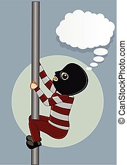 Robber Trying to Climb on Pole to Be Safe Vector...