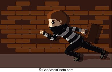 Thief Running with Money Suitcase Vector Illustration