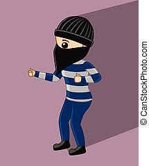 Masked Robber Character Vector Illustration