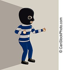 Robber with Mask Vector Illustration