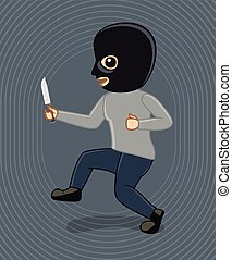 Robber Trying to Enter in House with Knife Vector...