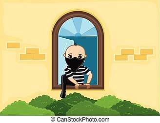 Balaclava Robber Trying to Escape from House Window Vector...
