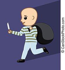 Cartoon Robber Running Illustration - Cartoon Robber Running...