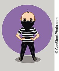 Masked Burglar Character Vector Illustration
