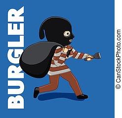 Burglar Running with Money Bag Vector Illustration
