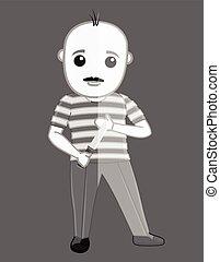 Criminal Holding a Knife Vector Illustration