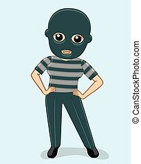 Female Thief with Face Mask Vector Illustration