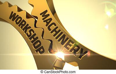 Machinery Workshop on Golden Metallic Cog Gears. 3D. -...