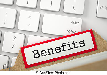 Card Index with Benefits. 3D. - Benefits written on Red Card...