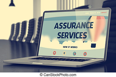 Landing Page of Laptop with Assurance Services Concept. 3D.