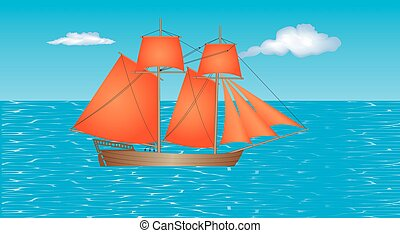 Sailing Ship. Schooner with beautiful red sails on the sea....