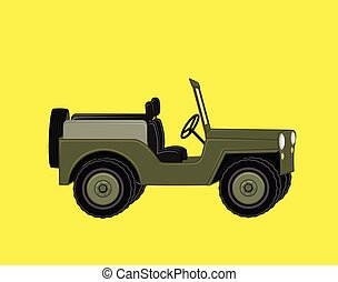 Open Jeep Car Vector Illustration