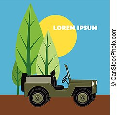 Open Jeep in Ground Vector Illustration