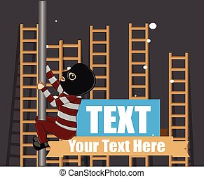 Criminal Tying to Climb Ladders Vector Illustration