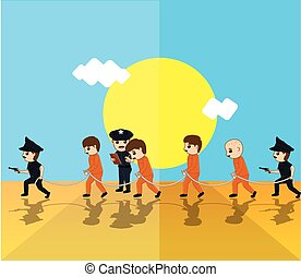 Police with Criminals Vector