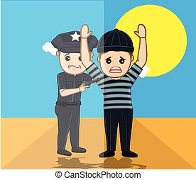 Police Caught a Thief Vector Illustration