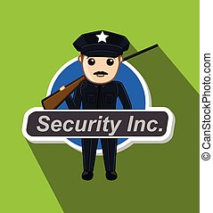 Security Guard with Rifle Vector Illustration