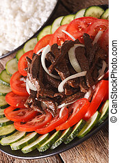 Cambodian cuisine: Beef Lok Lak with fresh vegetables...