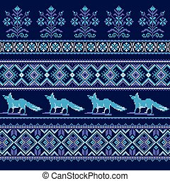Set of Ethnic holiday ornament pattern in blue colors....