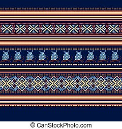 Set of Ethnic holiday ornament pattern in brown colors...