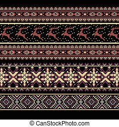Set of Ethnic holiday ornament pattern in brown colors....