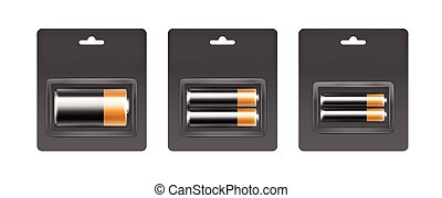Set of Black Yellow Batteries in Gray Blister - Vector Set...