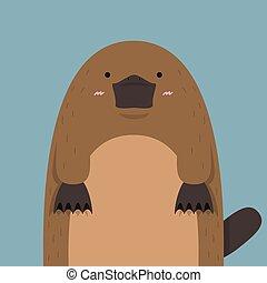 cute big fat platypus on dark blue background