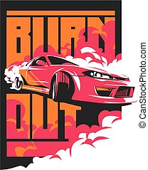 Burnout car, Japanese drift sport, JDM, - Burnout car,...