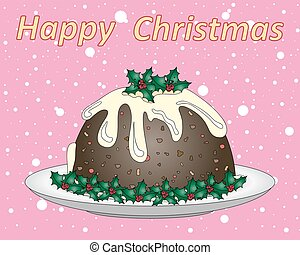 festive pudding - a vector illustration in eps 10 format of...