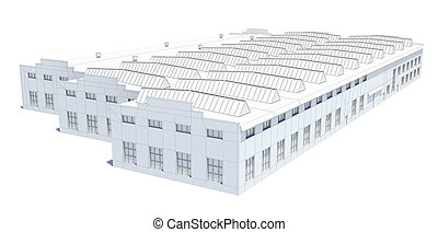 Hangar building. White wire-frame. Isolated on white, 3D...