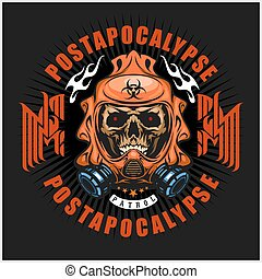 industrial,post-apocalypse coat of arms with skull,...
