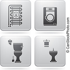 Bathroom Appliances - Bathroom theme icons set covering...