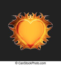 Heart on fire on a dark background Vector - Heart on fire on...