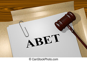 Abet - legal concept - 3D illustration of 'ABET' title on...