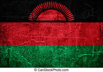 Flag of Malawi overlaid with grunge texture