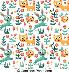 Seamless cute animal pattern made with cat, hare, rabbit, bee, flower, plant, leaf, berry, heart, friend, floral, kitten