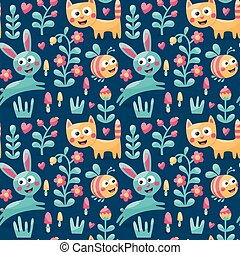 Seamless cute animal pattern made with cat, hare, rabbit, bee, flower, plant, leaf, berry, heart, friend, floral, nature