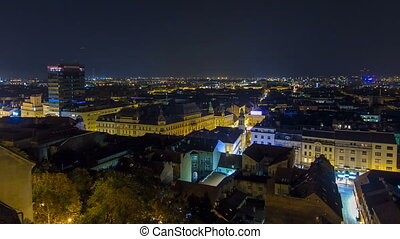 Old town of Zagreb at night timelapse. Zagreb, Croatia. Top...