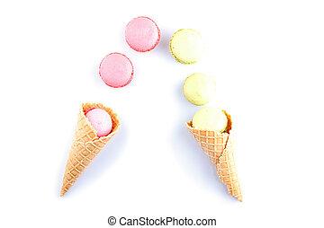 coloridos, macaron, Cor-de-rosa, cor, em, gelo, creme, cone,...