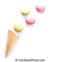macaron, Cor-de-rosa, coloridos, cor, gelo, waffle, cone,...