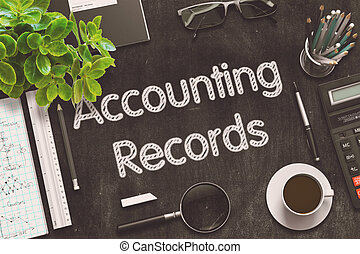 Black Chalkboard with Accounting Records. 3D Rendering. -...