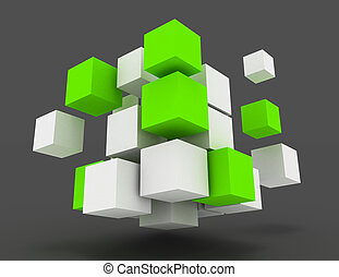 3d abstract cubes business concept